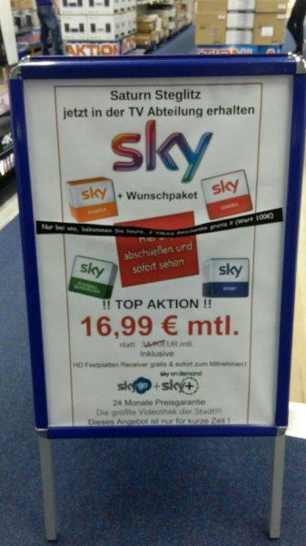 [Lokal Berlin Saturn Steglitz] Sky + Wunschpaket + Receiver + 2 Xmas Geschenke Gratis in wert von 100€ für je 16,99€ mtl.