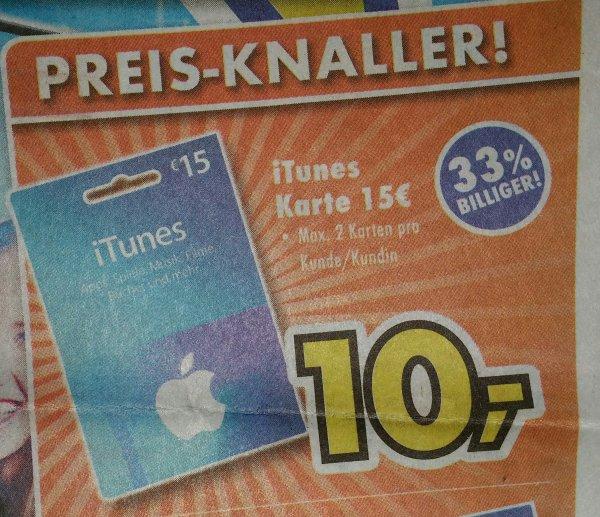 [Lokal, Euronics XXL] 15€ iTunes Karte für 10€!