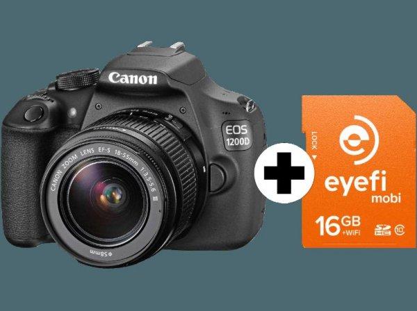 CANON EOS 1200D + Eyefi Speicherkarte + Objektiv 18-55 mm f/3.5-5.6 für 299€ (Mit Gutscheinen für nur 250€)