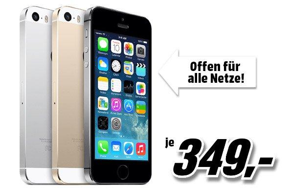 [AUT/MediaMarkt] APPLE iPhone 5s, 16 GB, Gold/Space Grau/Silber, nur am 28. Dezember von 6:00 – 9:00 vertragsfrei für 349,- Euro