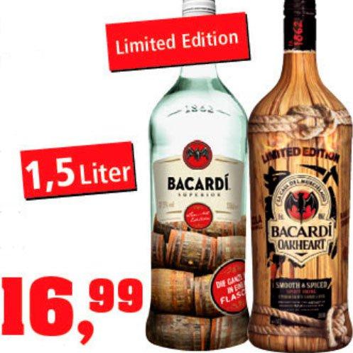 Bacardi Oakheart und Bacardi Superior in der GROßEN 1,5l Flasche für nur 16,99€ [Thomas Philipps]