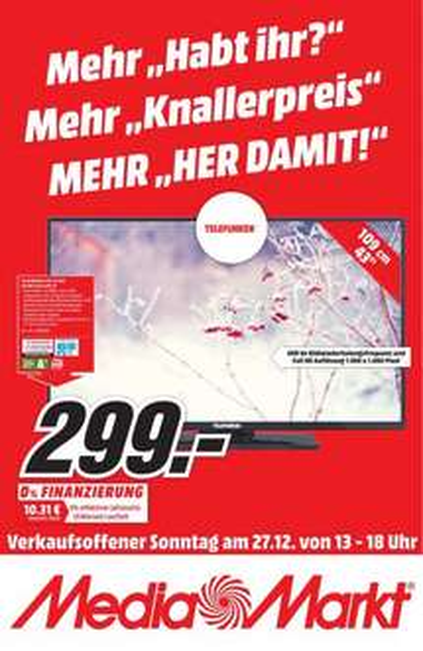 [Lokal Media Markt] Sammelthread verkaufsoffener Sonntag u.a. Telefunken D43F277R3C Full HD LED-Fernseher 110 cm 43 Zoll
