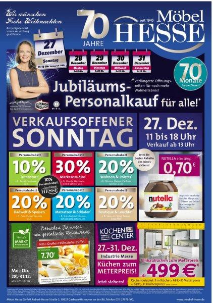 [Lokal Hannover] Nutella 450g nur heute 0,70€ bei Möbel Hesse