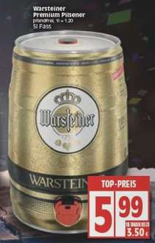 [EDEKA Minden-Hannover] Warsteiner 5l Fass für 6€ ab 28.12.
