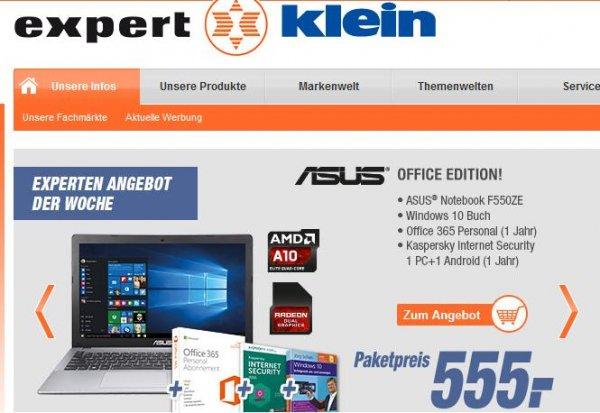 [Lokal: Expert Klein] ASUS Multimedia Notebook F550ZE, 8GB Ram, 1TB Platte, AMD Radeon... + Softwarepaket [555 Euro]