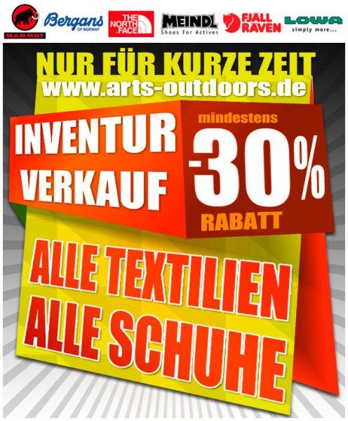 Outdoor Shop INVENTURVERKAUF alle Textilien & Schuhe min. 30% reduziert