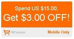 $3.00 AliExpress Coupon mit $15.00 Mindestbestellwert bei App-Bestellung
