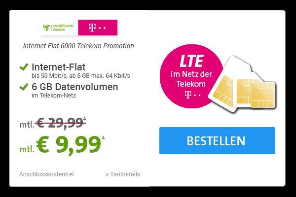 Telekom Datenkarte 6 GB LTE 50Mbit für  9,99€ über Mobilcom