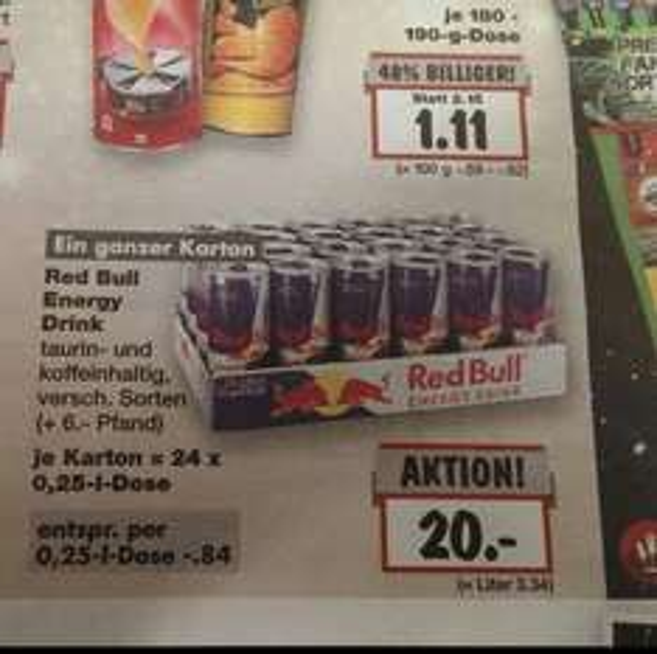 [Lokal Offenburg] 24x 0,25ml Redbull 20€ entspricht 84 Cent/Dose