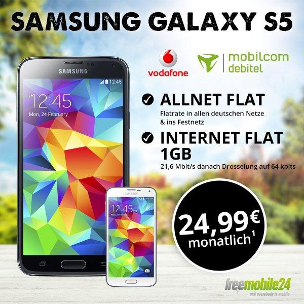 Allnet Flat Samsung S5, 1GB internet Flat für 25€ mtl