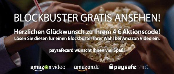 [Amazon Video] Blockbuster im Wert von 4€, bei Einlösen von 25€ Paysafecard