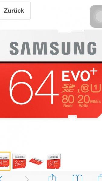 Amazon tagesangebot Samsung Speicherkarte SDXC 64GB EVO Plus UHS-I Grade 1 Class 10 für Foto und Video Kameras), frustfrei