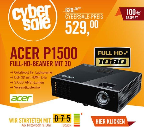 ACER P1500 im CyberSale für 529€ - 3D Full HD Beamer
