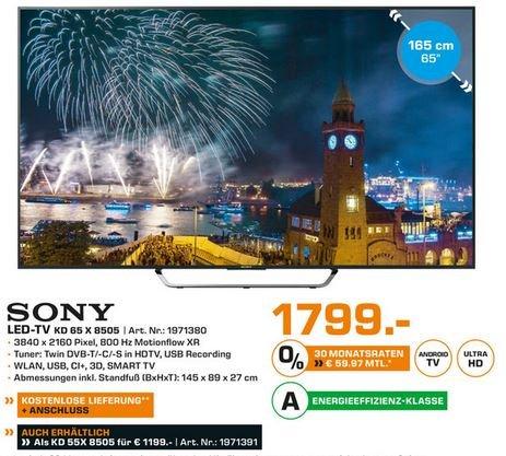 [SATURN Hamburg + Norderstedt] SONY 65X8505C 4K UHD für € 1.799,-