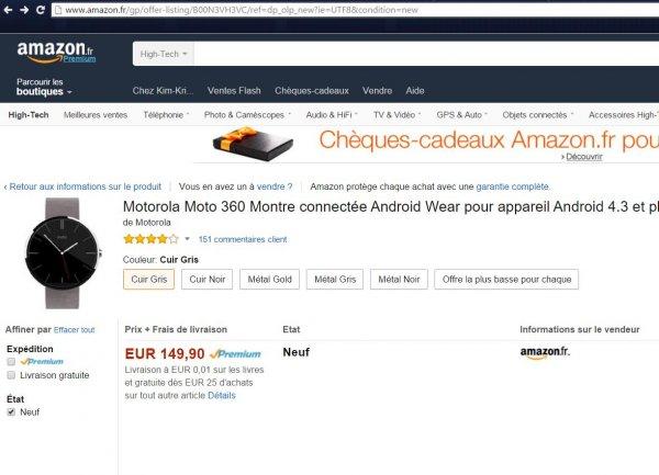Motorola Moto 360 Smartwatch Android Wear - 154,38€ Amazon.fr