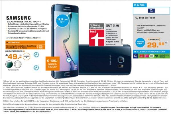 [Saturn Bergisch Gladbach] Samsung S6 Edge 32 GB mit Allnet Flat 2 GB LTE nur im Saturn Bergisch Gladbach