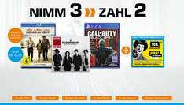 """""""Nimm 3 Zahl 2"""" auf alle Blu-rays, DVDs, Games, CDs, Vinyls und Hörbücher bis 10.01. @Saturn"""