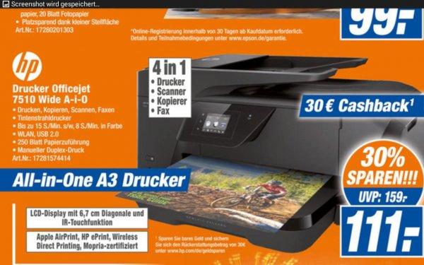 Lokal SHA, HP Officejet 7510 Wide Aio für 111€ (abzüglich Cashback = 81€) @HEM
