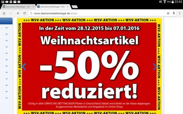 Dänisches Bettenlager - 50% auf ALLE Weihnachtsartikel!!!