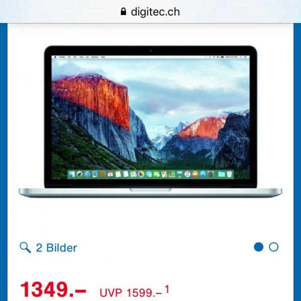 [Schweiz-Digitec.ch] Grenzgänger aufgepasst: MacBook Pro Retina, 256GB, 13 Zoll: 1349Franken~1247€