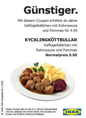 Ikea Kycklingköttbullar mit Rahmsauce u. Pommes für 4,95€ statt 5,95€