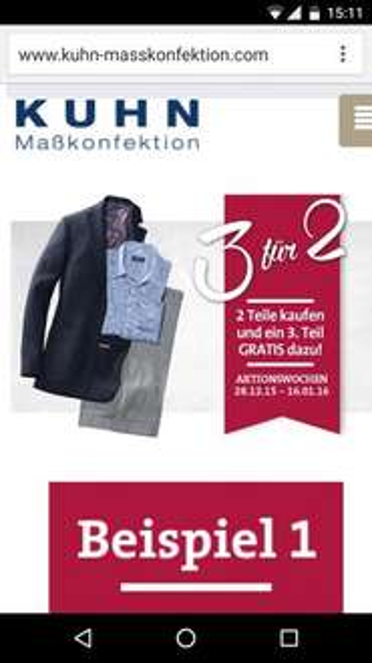 Kuhn Maßkonfektion: 2 Hemden kaufen + 1 gratis [offline] (max 33% Rabatt)