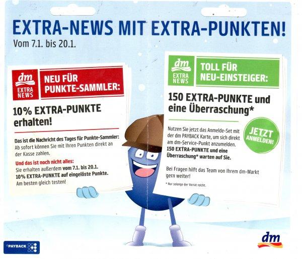 Alljährliche Payback-Service-Wochen: 150 Payback-Punkte und Geschenk bei DM für Neuanmeldung 07.01 - 20.01
