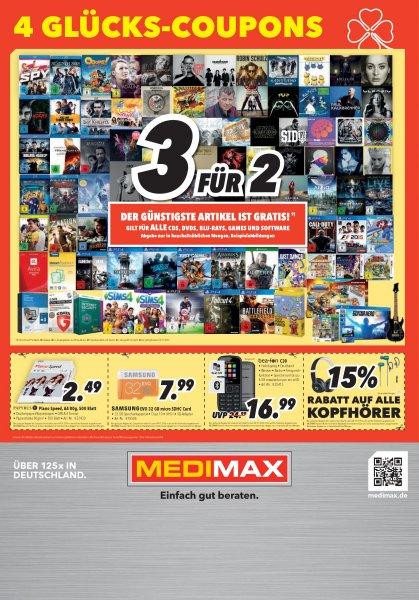 Medimax bundesweit 3 für 2 für ALLE CD's, DVD's, BLU-RAYS, Games und Software