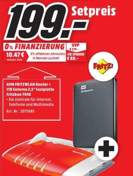 [Lokal Mediamarkt Oldenburg] Fritz Box 7490 + 1 TB WD Festplatte für 199€