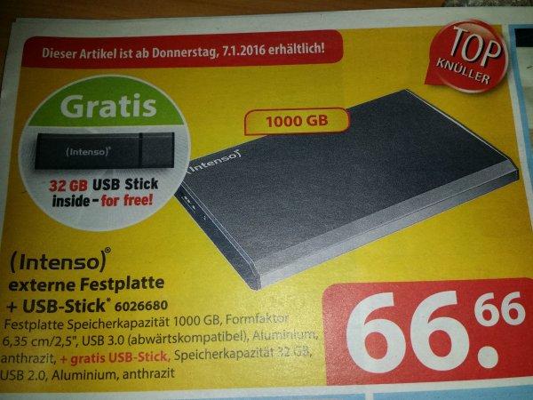 "Lokal Familia Intenso externe 2,5"" Festplatte 1000GB + gratis 32GB Stick 66,66€"
