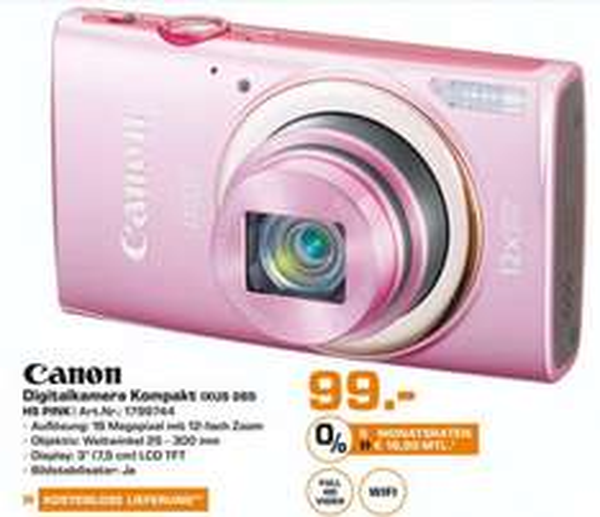 [LOKAL Saturn Hürth] Canon Ixus 265 HS Pink für 99€, PVG: 161,90€