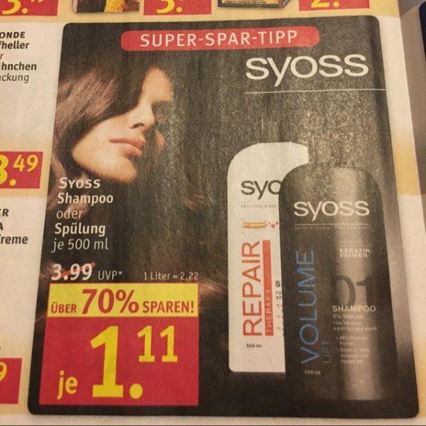Rossmann: Syoss Shampoo & Spülung für 1,11€