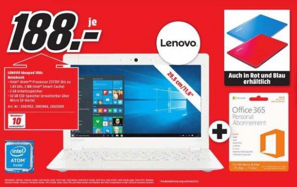 Lenovo Ideapad 100s Notebook in Weiss/Rot/Blau