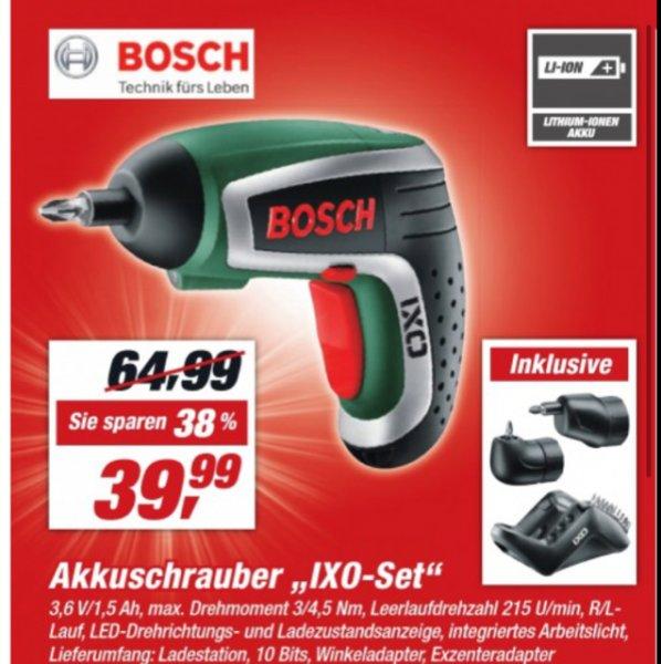 [abgelaufen-TOOM Baumarkt bundesweit & 35,19€ bei Bauhaus] Bosch HomeSeries IXO Akkuschrauber 4. Generation, Winkel- und Exzenteraufsatz, 10 Standard-Schrauberbits, Ladegerät