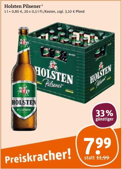 [tegut] Kiste Holsten Pilsener 20x 0,5 l für 7,99 €