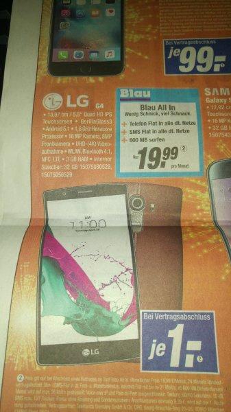 [expert Klein] Mobilfunkvertrag Blau All In inkl. LG G4 19,99€/Monat