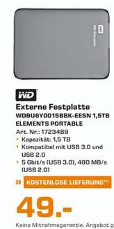 "(lokal)WD Elements Portable 1,5TB 2,5"" für 49€ @ Saturn Wesel"