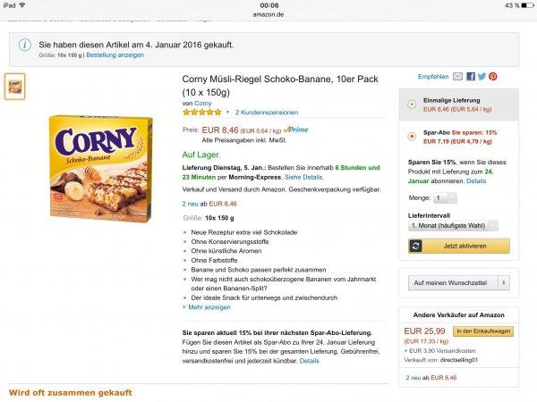 [Amazon] Corny Schoko-Banane 10er Pack