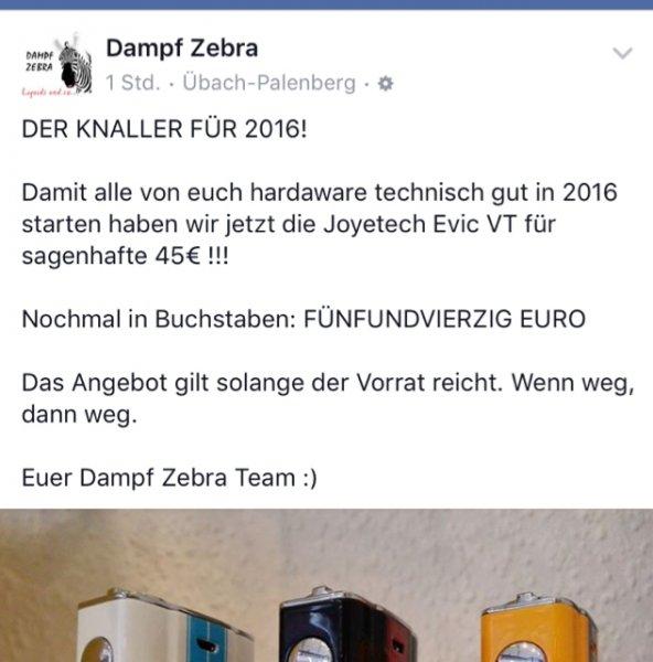 [Lokal Eschweiler & Übachpalenberg] Evic VT zum Bestpreis beim Dampftzebra