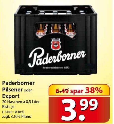 famila-nordost Paderborner  Pilsener  oder Export je Kiste 3,99€