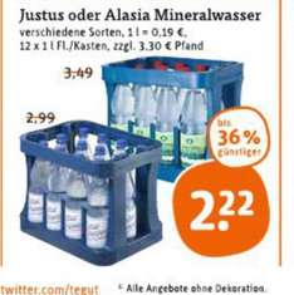 Alasia und Justus Brunnen 12x1 Liter bei Tegut 2,22€