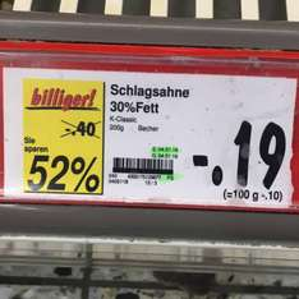 [Lokal] Schlagsahne für 0,19€ bei Kaufland in Vogelsdorf