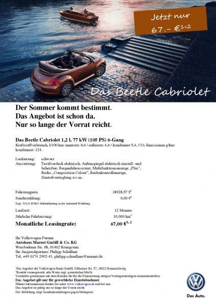 VW Beetle Cabrio 67 Euro leasing monatlich ohne Anzahlung (Gewerbekunden)