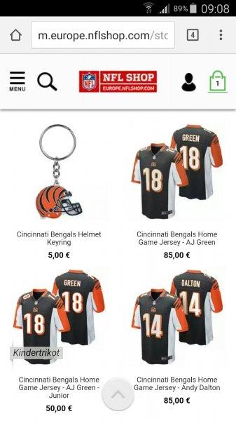 [NFL Shop Europe] Football-Kleidung/Zeugs günstiger bestellen über Smartphone