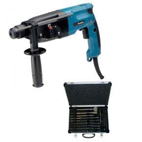 Makita HR2450 Bohrhammer + SDS Plus Bohrer- und Meißelset D-19180 für 124,89€