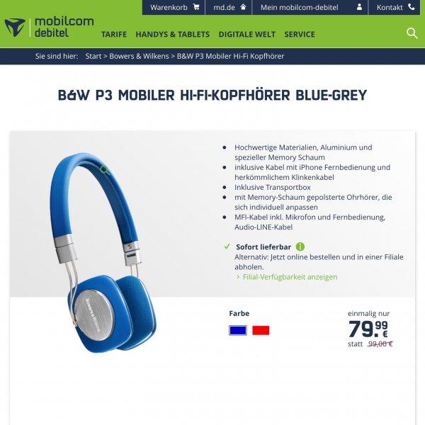 Bowers & Wilkins P3 blau/rot für 79,99€