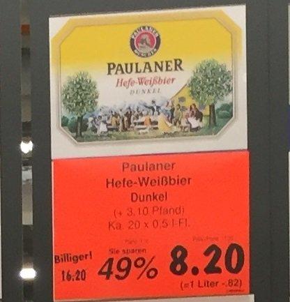 Paulaner Hefe-Weißbier Dunkel Kasten 20x 0,5L für 8,20€ @ KAUFLAND Würselen