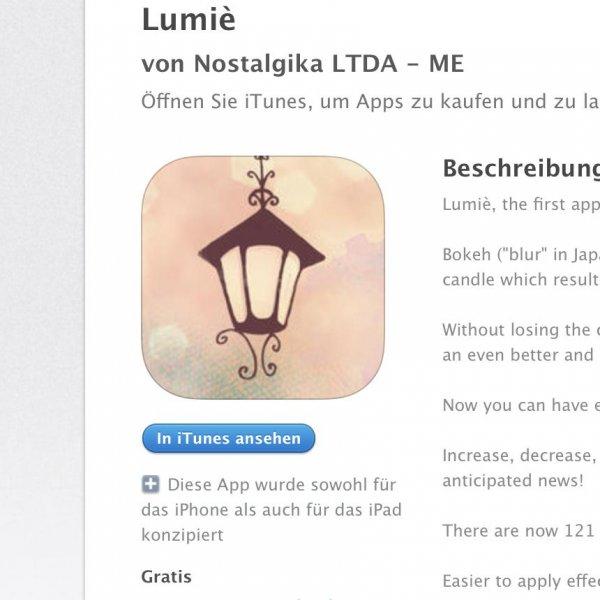 [iOS] Lumiè - Bokeh-Effects kostenlos statt 1,99€