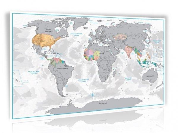 (wieder verfügbar bei Amazon) Design Rubbel Weltkarte Silber oder Gold mit 3D Relief-Optik (Berg und Ozean) 9,97€ inkl. VSK
