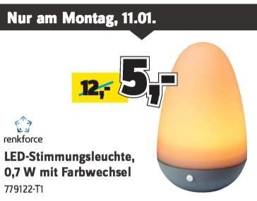 Conrad Wochenangebote - LED-Stimmungsleuchte mit Farbwechsel für 5€